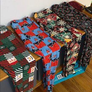 LulaRoe Christmas leggings. 4 pairs, all size TC